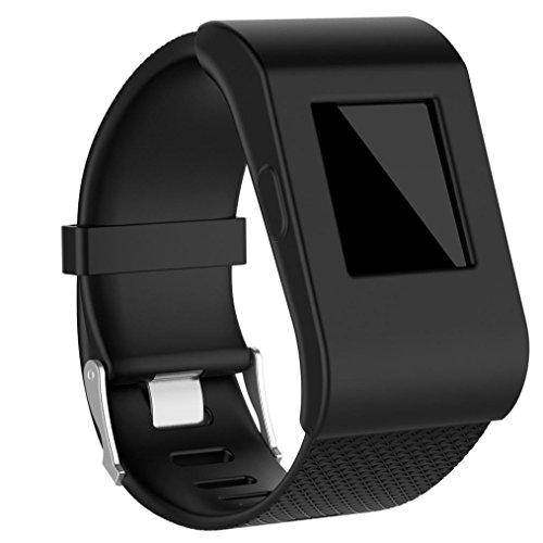 samLIKE Armband für Fitbit Surge Silikon Slim Design Hülle, schwarz und weiß (Schwarz)