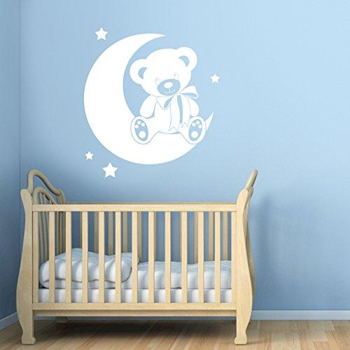 Ours sur la lune avec étoiles sticker mural pour enfant – Art Stickers en vinyle, facile à appliquer, sans applicateur, facile – enlever (Veuillez Choisir votre taille et couleur grâce à la sélection Boîtes) – par Rubybloom Designs, Blanc, Medium - 70cm x 77cm