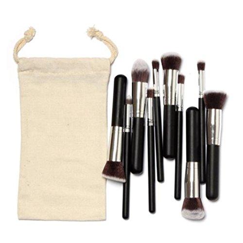 Susenstone 10PCs Silver Pinceaux de Maquillage Trousse de Maquillage Kit Tirage String