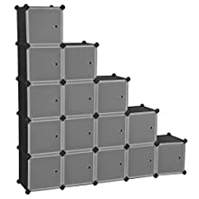 SONGMICS 16-Cube Storage Organiser Unit, Plastic Cabinet with Doors, for Clothes Shoes Toys Books, Easy to Assemble, Black LPC44HS