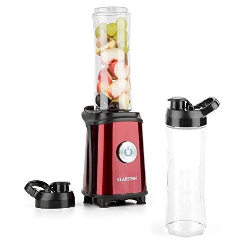 KLARSTEIN - Tuttifrutti, Standmixer, Küchenmixer, Mini Mixer, Smoothie Maker, Mini Blender, 350W, 2 x 600ml Behälter, BPA-frei, Edelstahlklingen, inkl. 2 x Deckel mit Trinkverschluss, rot