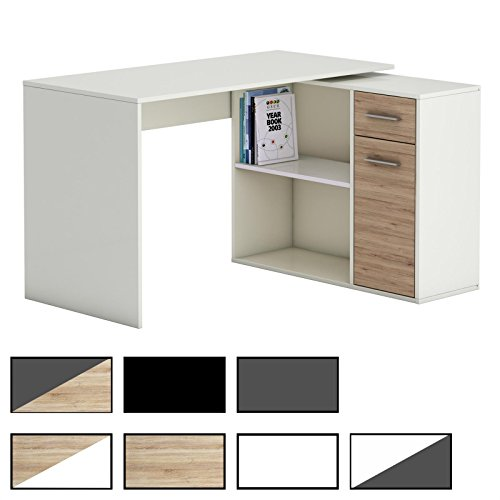 CARO-Möbel Eckschreibtisch Lena Schreibtisch Computertisch in Verschiedenen Farben, mit Regal, 120