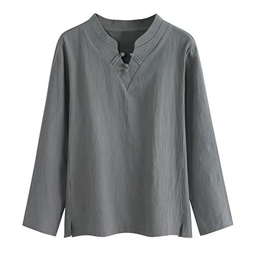 Aoogo Männer Ausgebeult Stilvoll Herbst Bettwäsche aus Baumwolle Solide Hülsen-Knopf Retro V-Hals-T-Shirts Oberteile Bluse Outwear