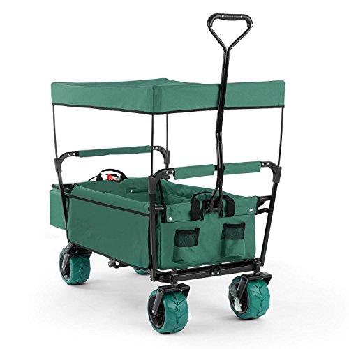 Waldbeck The Green Supreme Chariot pliable pour bricolage plage pique-nique (roues larges 10cm, bâche de protection, sac isotherme, transporte jusqu'à 68kg) - vert