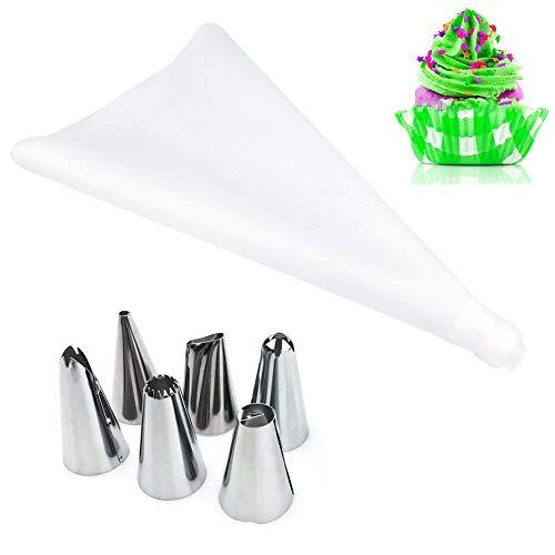 Alimagic Outil de gâteau, Inoxydable DIY Kits Réutilisable pour Décoration de Gâteaux Crème, 6 embouts de décoration en acier inoxydable et un sac de fleurs en silicone EVA avec convertisseur(C-blanc)