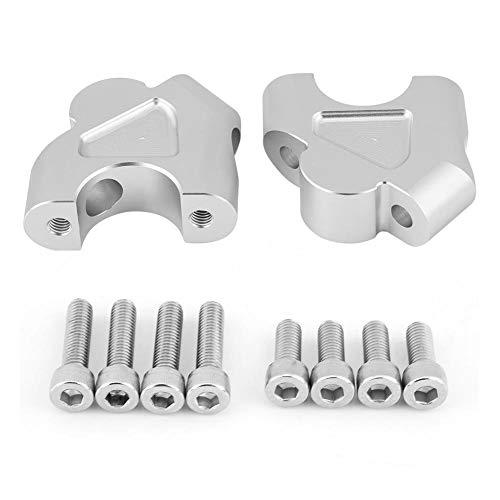 Outbit Lenker-Riser - 1 Paar Aluminium Motorrad Lenker Riser Clamp Höhen-Up-Adapter Schwarz für BMW R1200GS LC ADV 14-18. (Schwarz und Splitter) (Farbe : Silber) -