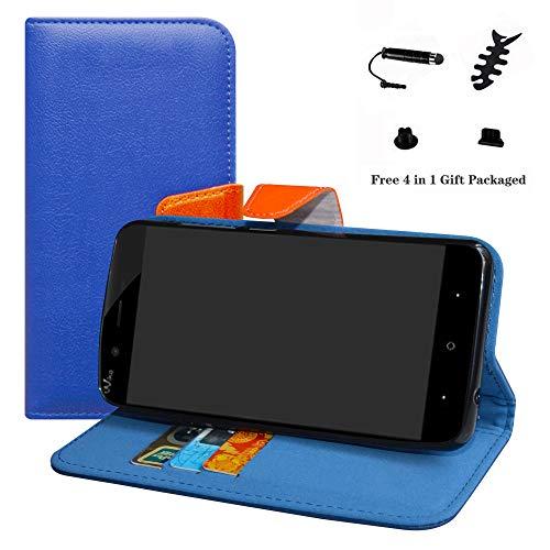 LFDZ Wiko Jerry 3 Hülle, [Standfunktion] [Kartenfächern] PU-Leder Schutzhülle Brieftasche Handyhülle für Wiko Jerry 3 Smartphone (mit 4in1 Geschenk Verpackt),Deep Blue