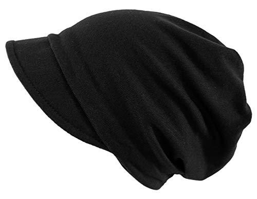 dy_mode Damen Schirmmütze Beanie Mütze mit Schirm Kappe - BM118 (BM118-Schwarz)