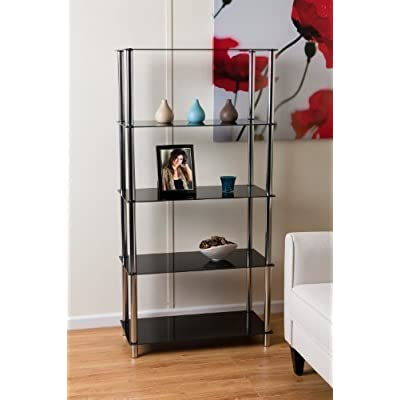 ASPECT Contour 5-Tier Shelving Display Unit, 70 x 35 x 141 cm,Black
