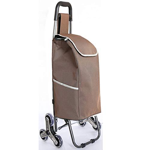 KSWD 6 Räder Einkaufstrolleys Einkaufstrolley, Einkaufsroller Einkaufswagen Treppen steigen Wasserdicht Rutschfester Griff Grosse Kapazität Faltbar tragbar,Brown
