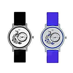 A&A CORP Peacock Black And Blue Color Round Dial Analog Watches Combo For Girls And Women