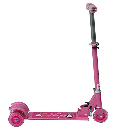Amardeep Baby Three Wheeled Height Adjustable Scooter with Wheel Lights and Anti Slip Foot Grip,Pink