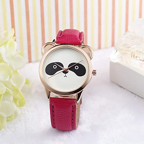 FDIJM Art- Und Weisefrauen-Uhr-Diamant-Reizende Panda-Gesichts-Imitat Pu-Lederne Uhr Watch D
