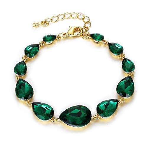 nd Hochzeit Braut Kristall Multi Teardrop Armkette Smaragd-Grün Gold-Ton ()