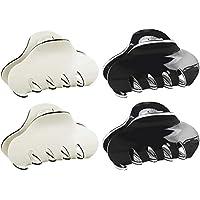 4 Piezas de Pinzas para el pelo, Acrílico pinzas para el pelo, Accesorios Apretón De La Pinza para garra el pelo, de plástico y metal, de beige y negro
