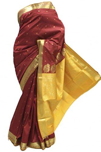 ASB3568 Marrone e Mustard Art Silk Saree Indian Art Silk Saree Saree Curtain Drape Fabric Maroon