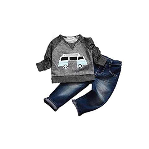 Tonwalk Baby Boys T-shirt Tops + Long Jeans Trousers Outfit Clothes for 1-7 Years (7Year)