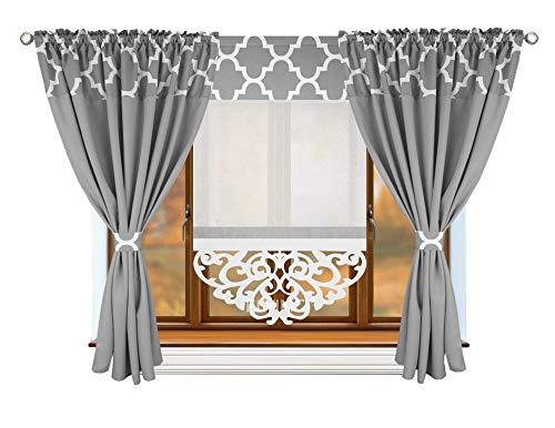 FKL Schöne Fertiggardine Fenstergardine Gardine Vorhang Panel Klee Weiß Schwarz Grau Kräuselband Smokband Store 180-350 cm LB-146 (146-25 Hellgrau)