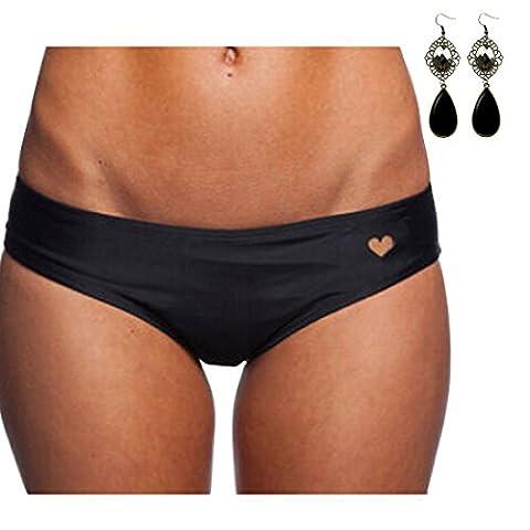 M-Queen Femme Sexy Maillots de Bain Hose Cœur Modèle T-Back G-String Bas de Bikini Bottom de Maillot Noir