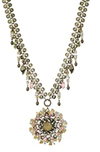 Amaro Jewelry Studio 'Butterfly' Collection Charming Necklace Embellished with Salmon Coral, Faux Mother of Pearl, Abalone, Aragonite, Cape Amethyst, Blue Lace Agate and Fancy Elements; Handmade in Israel