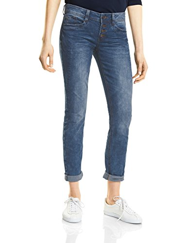 Street One Damen Slim Jeans 371196 Crissi, Blau (Mid Blue Random Bleach 11304), 38 (Herstellergröße: 30) (Fit Jean 5-pocket-easy)