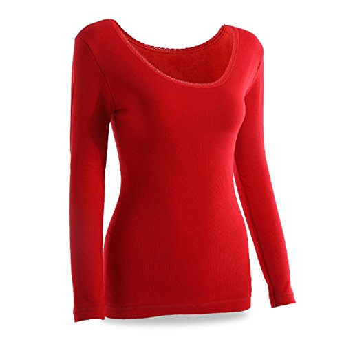 Swallowuk Damen Thermo Langarmhemd Thermo Shirt Lässig Thermo Unterhemd (L, Rot)