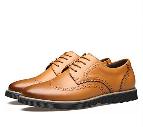 GRRONG Chaussures En Cuir Pour Homme En Cuir Véritable Loisirs Noir Marron brown