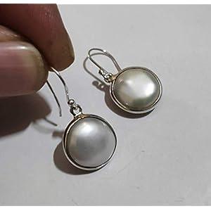 925 Sterling Silber handgefertigt baumeln Drop Süßwasser Münze Perlenohrringe