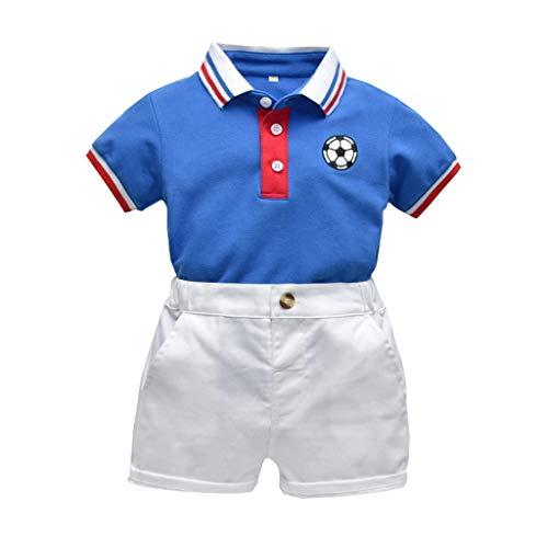 Deloito Kinder Baby Kleidung Streifen Fußball Drucken Kurzarm T-Shirt Tops Einfarbig Baumwolle Shorts Jungen Sport Gentleman's Overalls Sets (Blau,100/[18-24 Monate]) (Neugeborenes Baby Fußball Kostüm)