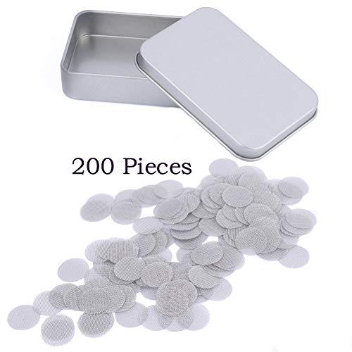 200pezzi in acciaio INOX tubo schermi, 15mm filtri smoking schermi, argento maglia fine Gauzes filtri per tabacco ciotole con contenitore