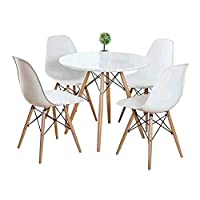 KOSY KOALA ROUND KITCHEN DINING TABLE AND 4 WHITE CHAIRS 100CM DIAMETER