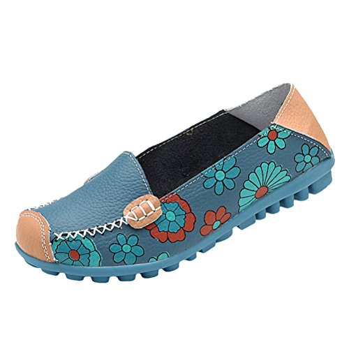 Vogstyle Moccasin Femme Casual Plat Tout-match Chaussures 33-43 Style-3 Bleu