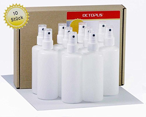 10 x 100 ml Sprühflaschen mit Fingerzerstäuber, Plastikflaschen mit Pumpsprüher, Kunststoffflaschen aus HDPE mit Zerstäuber, inkl. 10 Beschriftungsetiketten