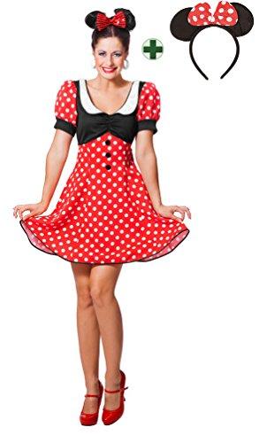 Karneval-Klamotten Minnie Mouse Kostüm Damen Minnie Maus-Kostüm Karneval Damen-Kostüm mit Ohren Größe 38