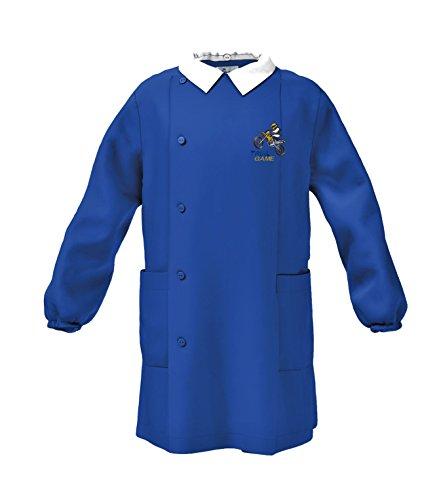 Siggi grembiule scuola linea happy school - elementare bambino colore blu -ricamo trial game moto - abbottonatura laterale con bottoni, colletto bianco.