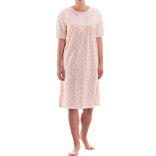 Zeitlos Nachthemd kurzarm mit floralem Druck und Stickerei (XXL, Apricot)