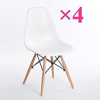 Lot de 4 chaises design blanche nina cuisine Chaise blanche cuisine