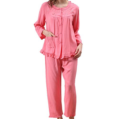 Zhhlaixing Comfortable Womens Long Sleeves Night Wear Fashion Two pieces Pyjama Set Watermelon Red