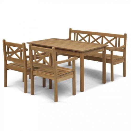 Skagerak Skagen - Ensemble de Jardin de 4 pièces, Teck 1 Table, 1 Banc de Jardin, 2 chaises