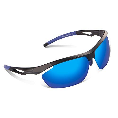 Elegear Gafas de Sol Gafas Deportivas Polarizadas Recubrimiento REVO y Anti-Aceite, Protección de UVA y UVB, Marco TR90 para Ciclismo Conducción-Azul
