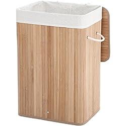 SONGMICS Panier à linge en bambou, Corbeille à linge, 72L, Pliable, avec Sac amovible et lavable, Buanderie, Couleur naturelle, LCB10Y