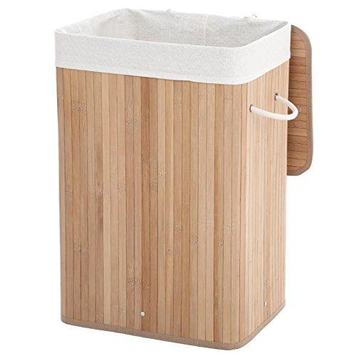 Songmics Wäschekorb Bambus Wäschebox Wäschetruhe Wäschekiste Faltbar Wäschesammler mit herausnehmbarem Baumwolle Wäschesack Wäschetonne naturfarben rechteckig 72 L LCB10Y