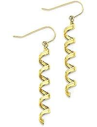 ICE CARATS 14k Yellow Gold Spiral Drop Dangle Chandelier Earrings Fine Jewelry Gift Set For Women Heart