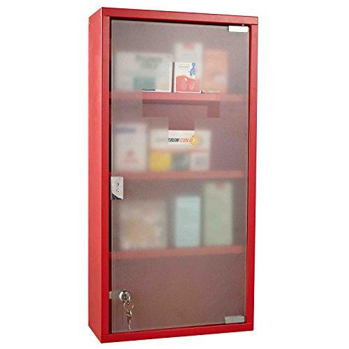 Homcom Armoire à pharmacie 3 étagères 4 niveaux verrouillable porte verre trempé dépoli logo croix 30L x 12,5l x 60H cm acier inox rouge