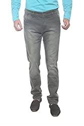 Spykar Mens Olive Slim Fit Mid Rise Trousers (32)