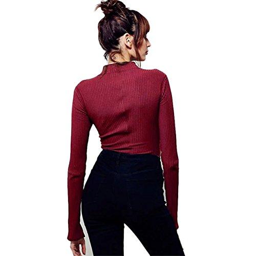 Mode féminine Chemise , Reaso Évider à manches longues Bandage hauts écourtés Noir