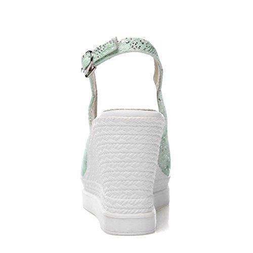 Odomolor Donna Tacco Alto Puro Fibbia Sbirciare Sandali Verde