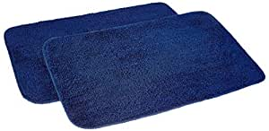 Amazon Brand - Solimo Anti-Slip Microfibre Bathmat, 50cm x 80cm - Pack of 2 (Blue)
