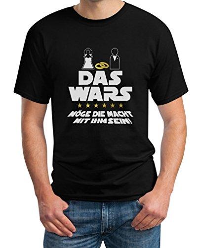 Junggesellenabschied T-Shirt JGA Bachelor Party Outfit - Das Wars Möge Die Macht Mit Ihm Sein T-Shirt Small Schwarz