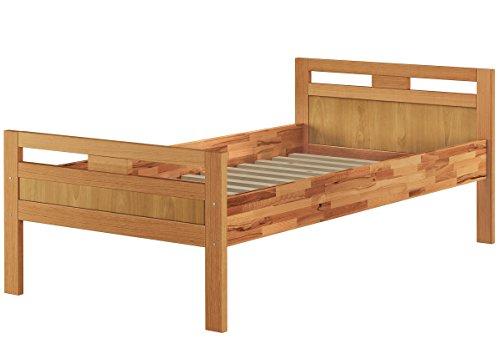 Massivholzbett Seniorenbett Buche natur 100×200 Einzelbett Hohes Bett Komforthöhe 60.74-10 oR